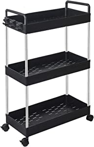 SOLEJAZZ Rolling Storage Cart 3-Tier Mobile Shelving Unit Bathroom Carts with Handle for Kitchen Bathroom Laundry Room,Black