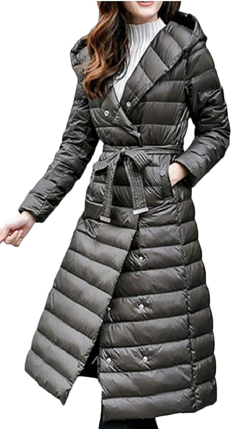 Jxfd Women's Lightweight DoubleBreasted Hooded Maxi Down Coat with Belt