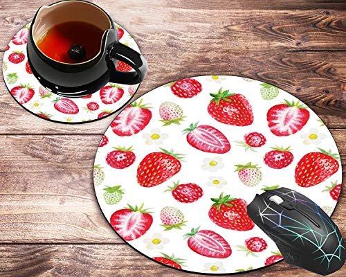 Round Mouse Pad and Coaster Set, Strawberry Mousepad, Non-Slip Rubber Base Gaming Mouse Pads for Working Or Game