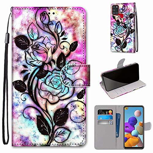 Miagon - Funda de piel sintética para Samsung Galaxy A21S, diseño multicolor