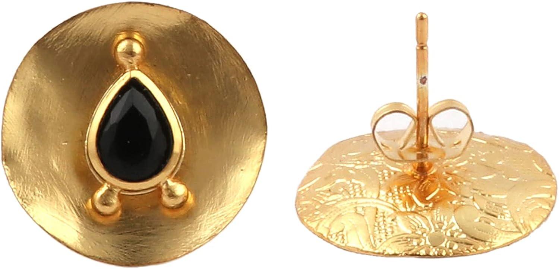 Checker Cut Black Onyx Gemstone Stud Earring Brass Gold Plated Half Bezel Setting Stud Earrings Natural Beautiful Jewelry By EL JOYERO.