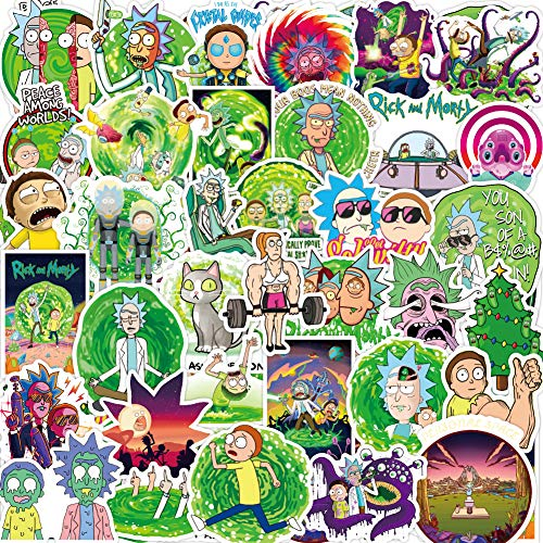 Rick and Morty Stickers for Hydro Flask, | 50 PCS | Vinyl Waterproof Stickers for Laptop,Skateboard,Water Bottles,Computer,Phone, Cute Anime Stickers (Rick and Morty)