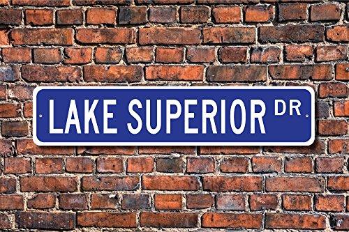 Aersing Home Decor Lake Superior Schild Kanada USA Bordüre Lake Lake Superior Besucher Lake Superior Geschenk Metall Schild für Outdoor Nutzung...