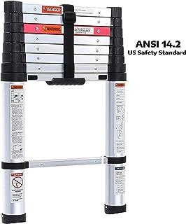 Lionladder 8.7FT ANSI Type I Aluminum telescoping ladders - Extendable Slow-Down Telescopic Ladder (Black)