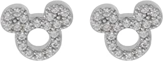 Women's and Girls Jewelry Mickey or Minnie Mouse Sterling Silver Cubic Zirconia Stud Earrings