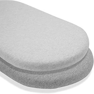 Bufims Fitted Bassinet Sheet 100% Jersey Cotton, 16x 32 Inch, Ultra Soft Mattress 2 Pack Grey Sheets,Ultra Breathable and ...