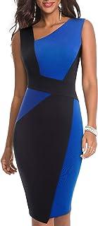HOMEYEE Vestito da Donna Vintage Business Senza Maniche a Contrasto in Contrasto Colore B517