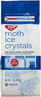 Enoz Moth Ice Crystals (4 Pack) Kills Clothes Moths, Carpet Beetles, and Eggs and Larvae