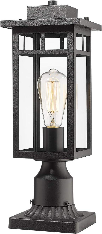 CALDION Outdoor Post Light Fixtures, Exterior Pole Light Pillar Lantern with Pier Mount Base, Balck Finish with Clear Glass Shade, Post Lantern for Garden, Patio, Pathway, 2486-1G