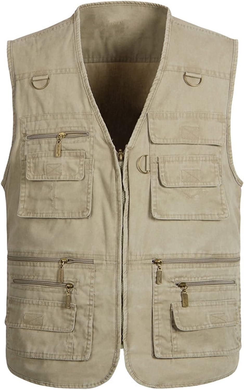 Kissonic Men's Outdoor Casual Safari Fishing Work Travel Vest with Multi Pockets