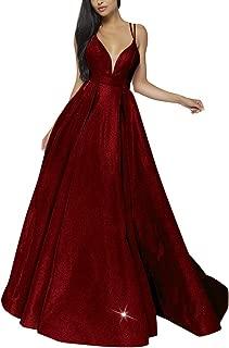 Women's Glittery Spaghetti V-Neck Prom Dresses Long Side Split Formal Evening Gowns