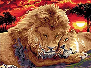 Quepar Paint by Number Lion King and Baby DIY Picture by Numbers Digital Oil Painting Wall Art Decor Picture Handmade(40X50Cm/16X20Inch,No Frame)