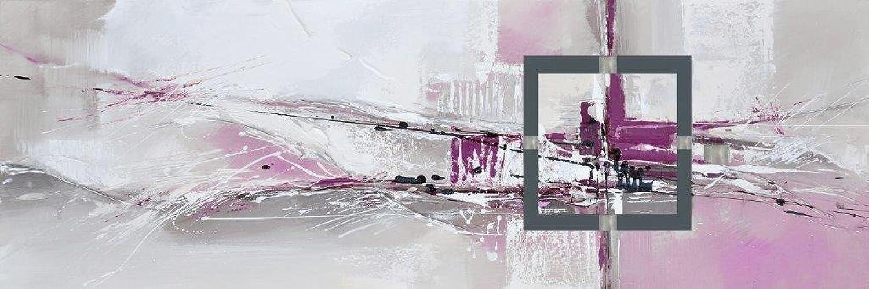 E-tableaux – Tabelle Panorama Abstrakt grau und Rosa, Rosa, Rosa, Maße 60 120 cm, horizontale, abstrakte Malerei Ölmalerei bespannt auf einem Keilrahmen aus Holz, Tabelle unterzeichnet. B076J7F1HC   Preiszugeständnisse  46cf40