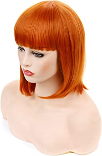 Morvally Short Straight Neat Bangs Bob Wigs Natural Looking Synthetic Hair Wig for Cosplay Costume Halloween (12 inches 2735# Orange)