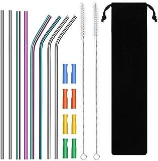 Pajita de acero inoxidable, reutilizable, multicolor, con 8 puntas de silicona suave, cepillo de limpieza, metal para vasos de bebidas frías (4 dobladas 4 rectas)