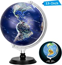 13 Inch Illuminated World Globe, Raised Relief Topographical Globe, Built-in LED Light for Night View, Magnifying Glass, Wood Stand for Learning Education Teaching Demo Home Office Desk Decoration
