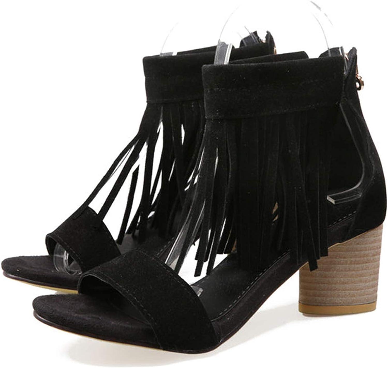 Alex Kuts Women Fringes Sandals Round High Heels Summer shoes Women Zipper Peep Toe Nubuck Party shoes,Black,9