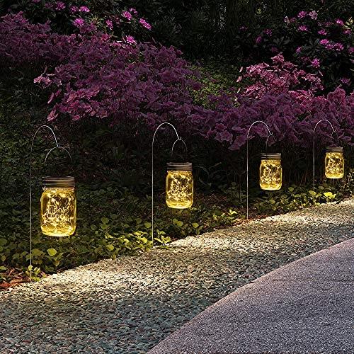 GIGALUMI Hängende Solar Einmachglas Deckel Lichter, 6er Pack 15 LED String Lichterketten Solar Laternen Tischleuchten, 6 Kleiderbügel und Gläser enthalten.