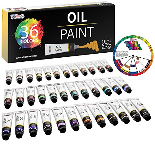U.S. Art Supply Professional 36 Color Set of Art Oil Paint in Large 18ml Tubes - Rich Vivid Colors for Artists, Students, Beginners - Canvas Portrait Paintings - Color Mixing Wheel