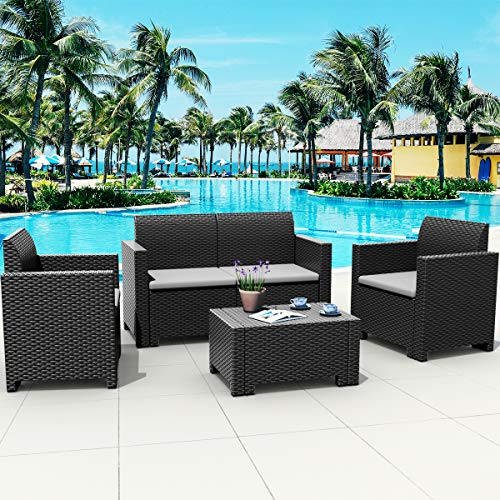Tangkula 4-Piece Patio Furniture Set, Made in Italy Outdoor Wicker Conversation Set w/Removable Cushion Sectional Sofa Set, for Backyard Porch Garden Poolside Balcony (Pillow Not Included) (Grey)