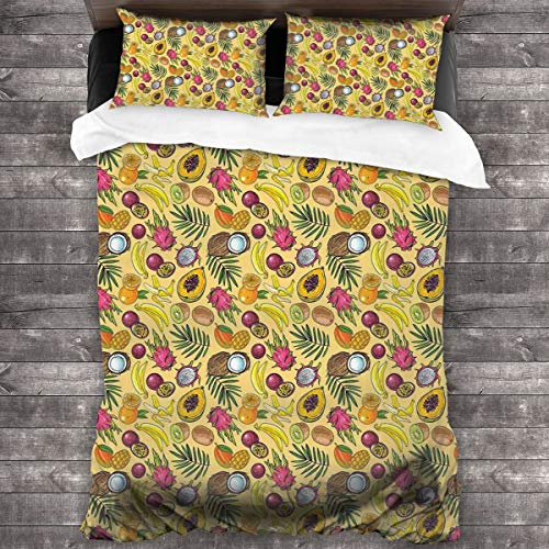 BEITUOLA Juego de Funda nórdica,Varias Frutas Tropicales Kiwi Mango Papaya Coco Dulce Jugosa Comida Verano Tropical,1 Funda de Edredón y 2 Fundas de Almohada 140 x 200cm