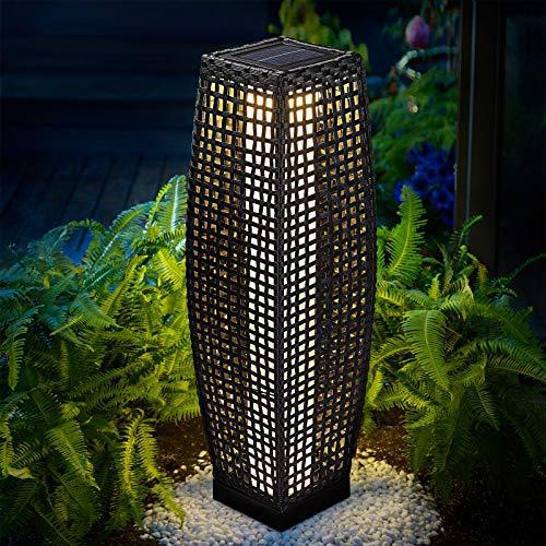 DEUBA Poly Rattan LED Solarleuchte Solarlampe schwarz | 70cm Hoch | Stehend | Für Garten, Balkon & Terrasse – Außenleuchte Gartenleuchte Gartenbeleuchtung Solar Gartenlampe Außen - 2