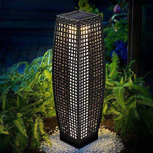 DEUBA Poly Rattan LED Solarleuchte Solarlampe schwarz | 70cm Hoch | Stehend | Für Garten, Balkon & Terrasse - Außenleuchte Gartenleuchte Gartenbeleuchtung Solar Gartenlampe Außen - 2