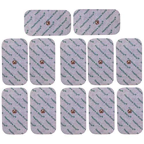Healthcare World Elektroden für TENS/EMS Maschinen Satz von 12 Druckknopf Größen 9cm x 5cm Pads passend zu TENS EMS Geräten Sanitas und Beurer