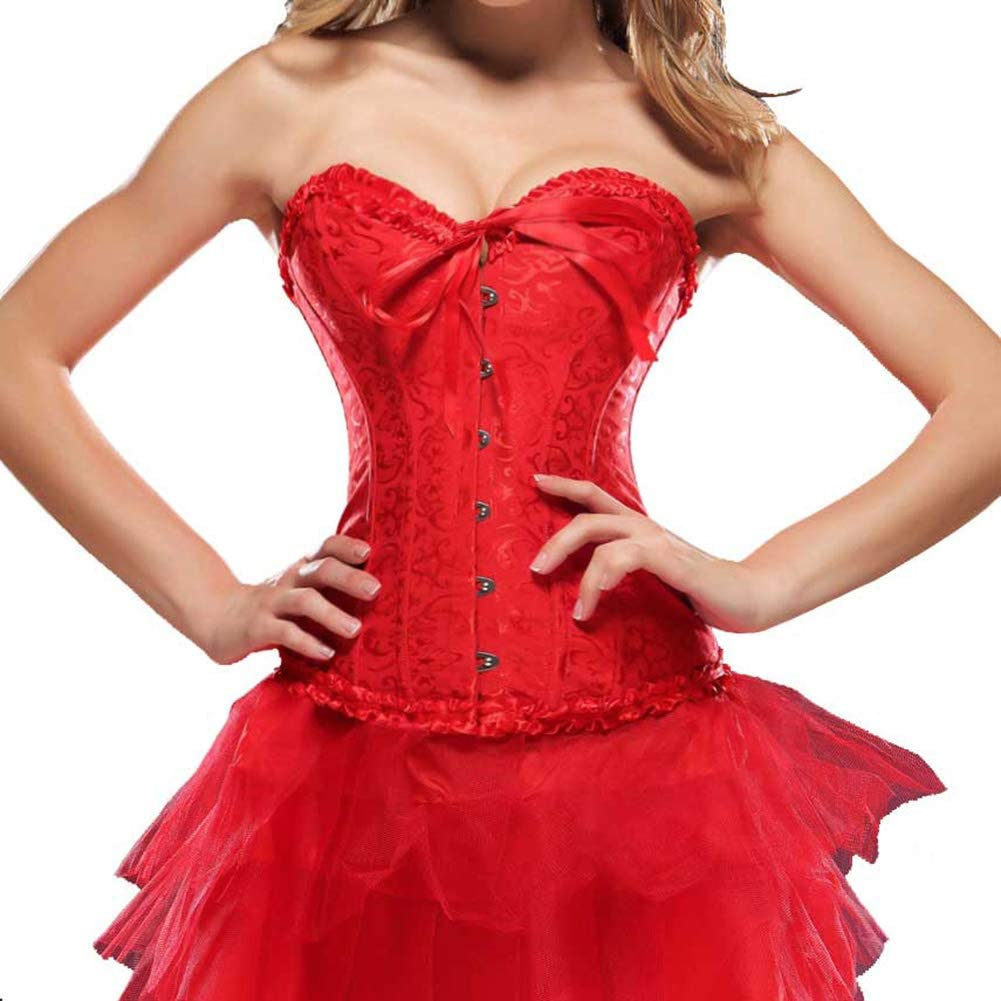 Women/'s Halloween Red Corset With Lace Mini Skirt Overbust Rubber Boned Bustier