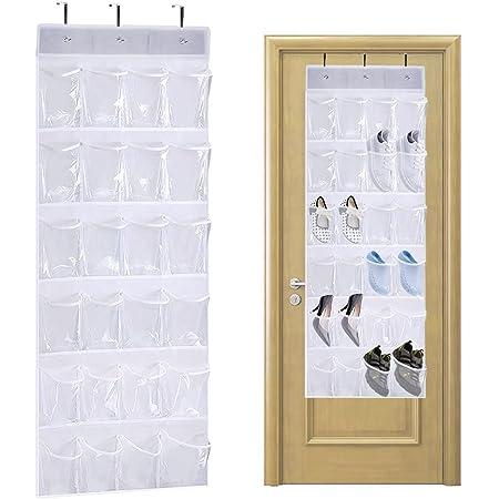 QUMENEY Organiseur à chaussures à suspendre avec 24 poches - Pliable - Avec crochets - Très résistant - Pour salle de bain, armoire