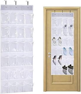 QUMENEY Organiseur à chaussures à suspendre avec 24 poches - Pliable - Avec crochets - Très résistant - Pour salle de bai...