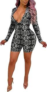 4b9ba79bb2e6 Women s Sexy V Neck Long Sleeve Bodycon Jumpsuit Snake Skin Bodysuit Shorts  Romper Party Clubwear Plus