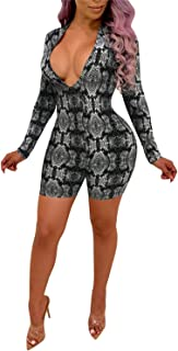 Women's Sexy V Neck Long Sleeve Bodycon Jumpsuit Snake Skin Bodysuit Shorts Romper Party Clubwear Plus Size