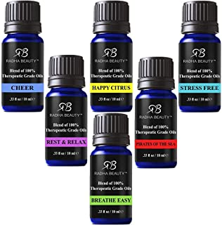 Radha Beauty Top 6 Blends Essential Oils Gift Set - Aromatherapy Diffuser Blends Oils for Cheer, Rest & Relax, Happy Citru...