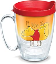 Tervis 1290040 Disney-Winnie the Pooh I'd Rather Be in Bed Tumbler with Wrap and Red Lid, 16oz Mug, Clear