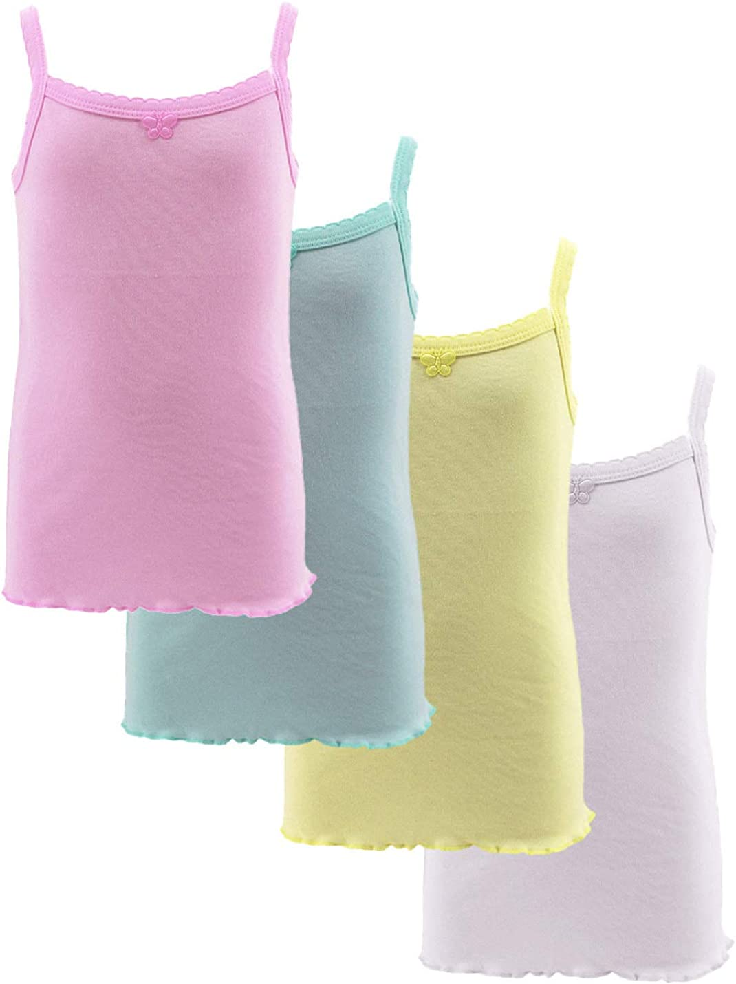 4-Pack Bow Detail Girls Colorful White 100% Cotton Undershirt Camisole Tank Tops