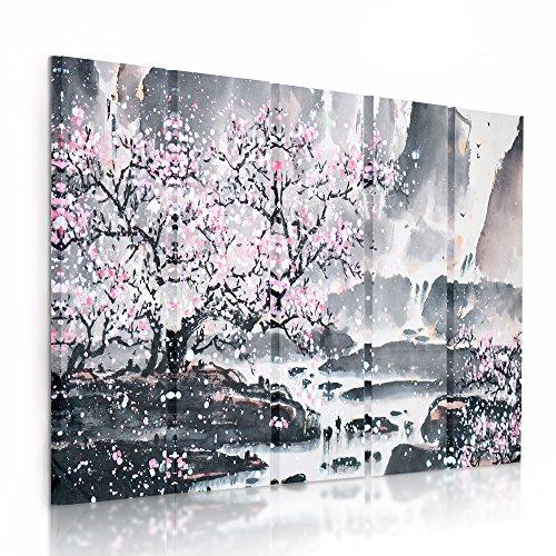 Feeby Frames, Cuadro en lienzo - 5 partes - Cuadro impresión, Cuadro decoración, Canvas (CEREZO ÁRBOL, ROSA, GRIS) 150x100 cm, Tipo C