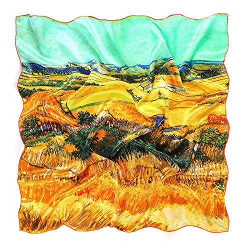 prettystern Damen 90cm 100% Seide Umschalg-Tuch goldene Impressionismus Kunst-Druck van Gogh Die Ernte P754