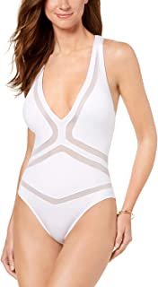 Kenneth Cole Womens All Meshed Up Illusion One-Piece Swimsuit (White, Large)
