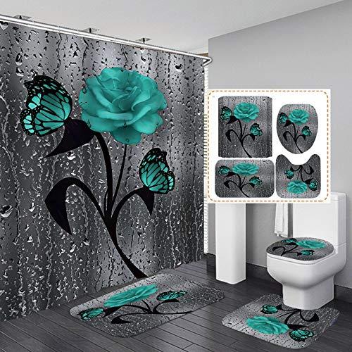 Fashion_Man 16PCS/Set Teal Butterfly Raindrop Rose Flower Shower Curtain, Waterproof Cloth Fabric Bath Curtain, Non-slip Bathroom Mat Bath Mat Toilet Rug, Elegant Artwork Floral Bathroom Decor, Green