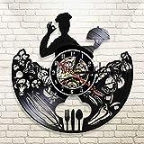 UIOLK Chef Silueta Cocina decoración de la Pared Reloj de Pared Gourmet Tenedor Cuchillo Cuchara Disco de Vinilo Reloj decoración Reloj de Pared