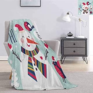 Luoiaax Christmas Fluffy Blanket Microfiber Cheerful Merry Xmas Illustration with a Bird and Snowman Fun Winter Celebration Lightweight Life Comfort Blanket W57 x L74 Inch Blue White