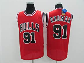 JX-PEP Heren Jerseys -Bulls # 91 Dennis Rodman Vintage Jerseys, Cool Ademend Stof Swingman Basketbal Jerseys Vest Top T-Sh...