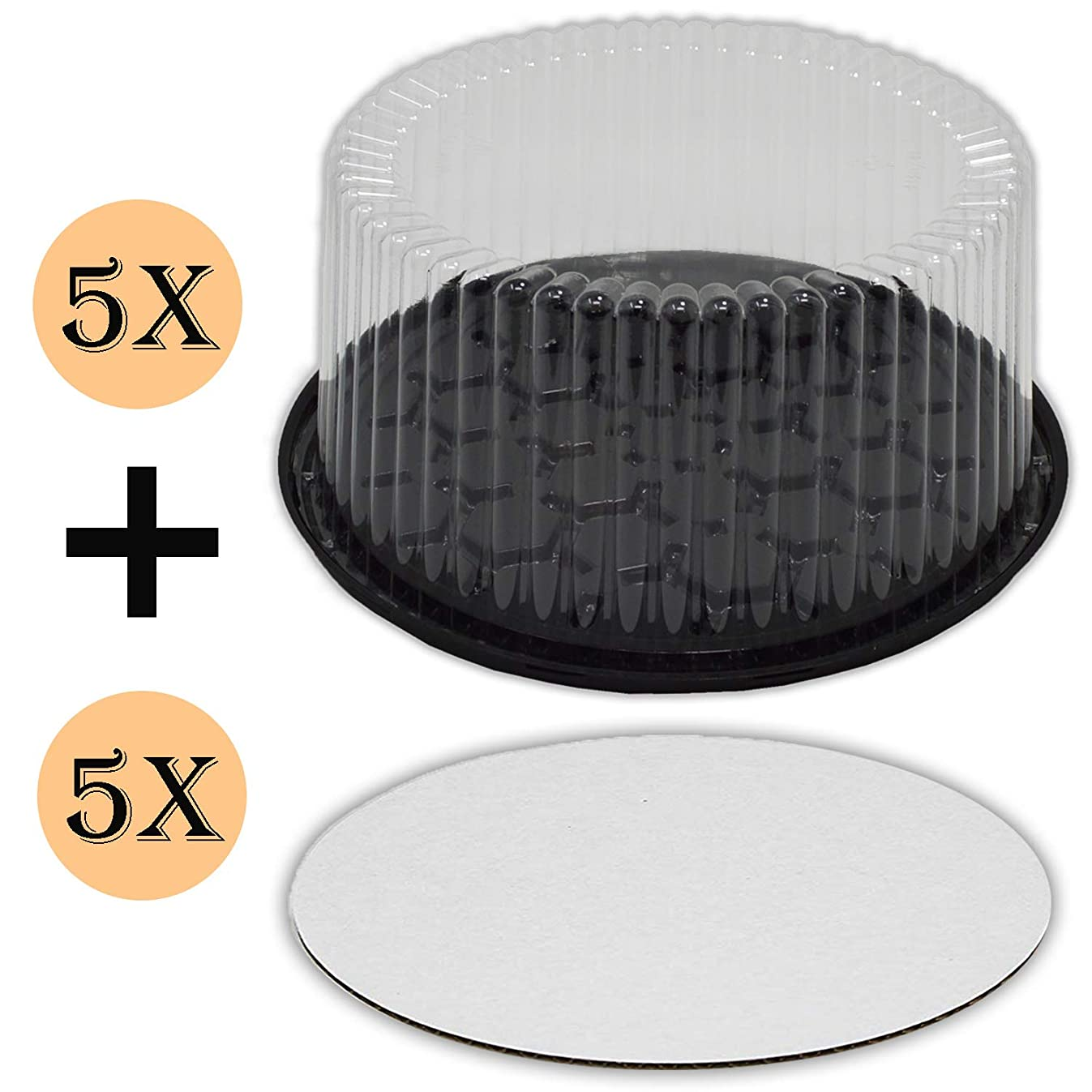 Plastic Cake Container with Clear Dome Lid 9 Inch and Cake Boards 10 inch, Cake Holder with Lid is for 2-3 layer cakes, Cake Board is Round, Cake Supplies, 5 Pack of each.