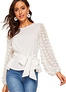 Women's Mesh Embroidered Floral Sleeve Self Belted Blouse Top
