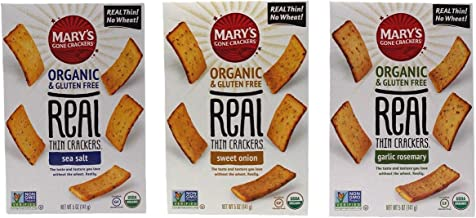 Mary's Gone Crackers Organic Gluten Free Real Thin Snacks 3 Flavor Variety Bundle, 1 each: Sea Salt, Sweet Onion, Garlic Rosemary (5 Ounces)