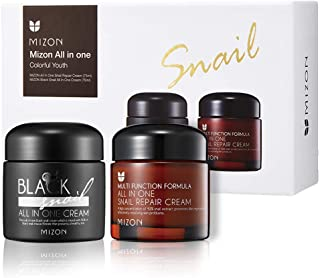 Mizon Colorful Youth Set: All in One Snail Repair Cream (75ml) and Black Snail All in One Cream (75ml) | Day and Night Fac...