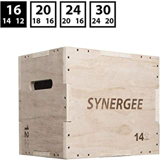 Synergee 3 in 1 Wood Plyometric Box for Jump Training and Conditioning. All in One Jump Trainer. Sizes 30/24/20, 24/20/16, 20/18/16, 16/14/12