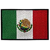 EmbTao Mexico Flag Patch Embroidered Applique Mexican Iron On Sew On National Emblem
