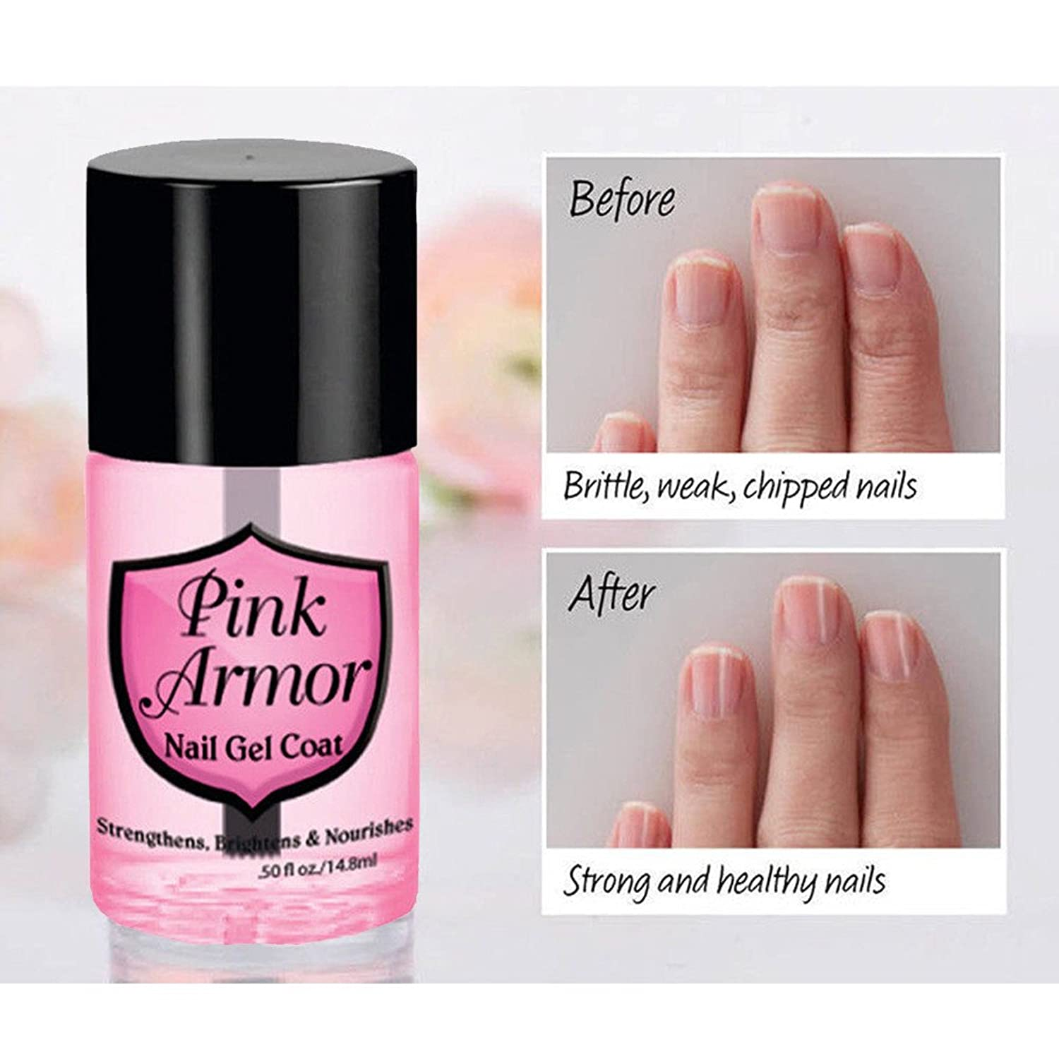 SakuraBest Pink Armour Nail Nutrition Gel Base Polish Remedy Fix Layer Protective Top Coat, Keratin Gel